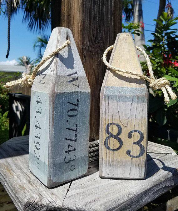 Photo of House number buoy – latitude longitude – pair of wooden buoys – stripe – lobster buoy – nautical decor –  beach house decor – custom order