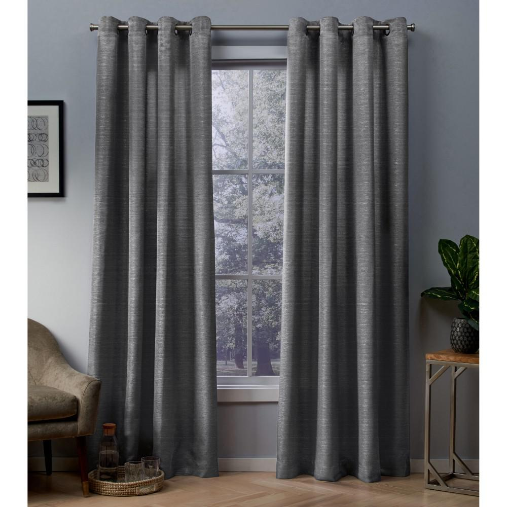 Whitby 54 In W X 108 In L Metallic Slub Grommet Top Curtain Panel In Black Pearl 2 Panels Eh8236 03 2 108g White Paneling Panel Curtains Grommet Curtains