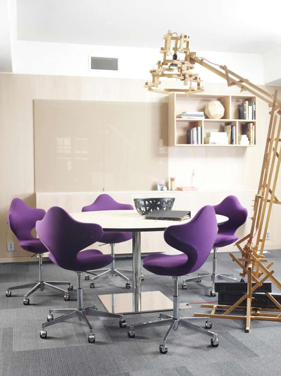 small office meeting room interior design with purple active chair