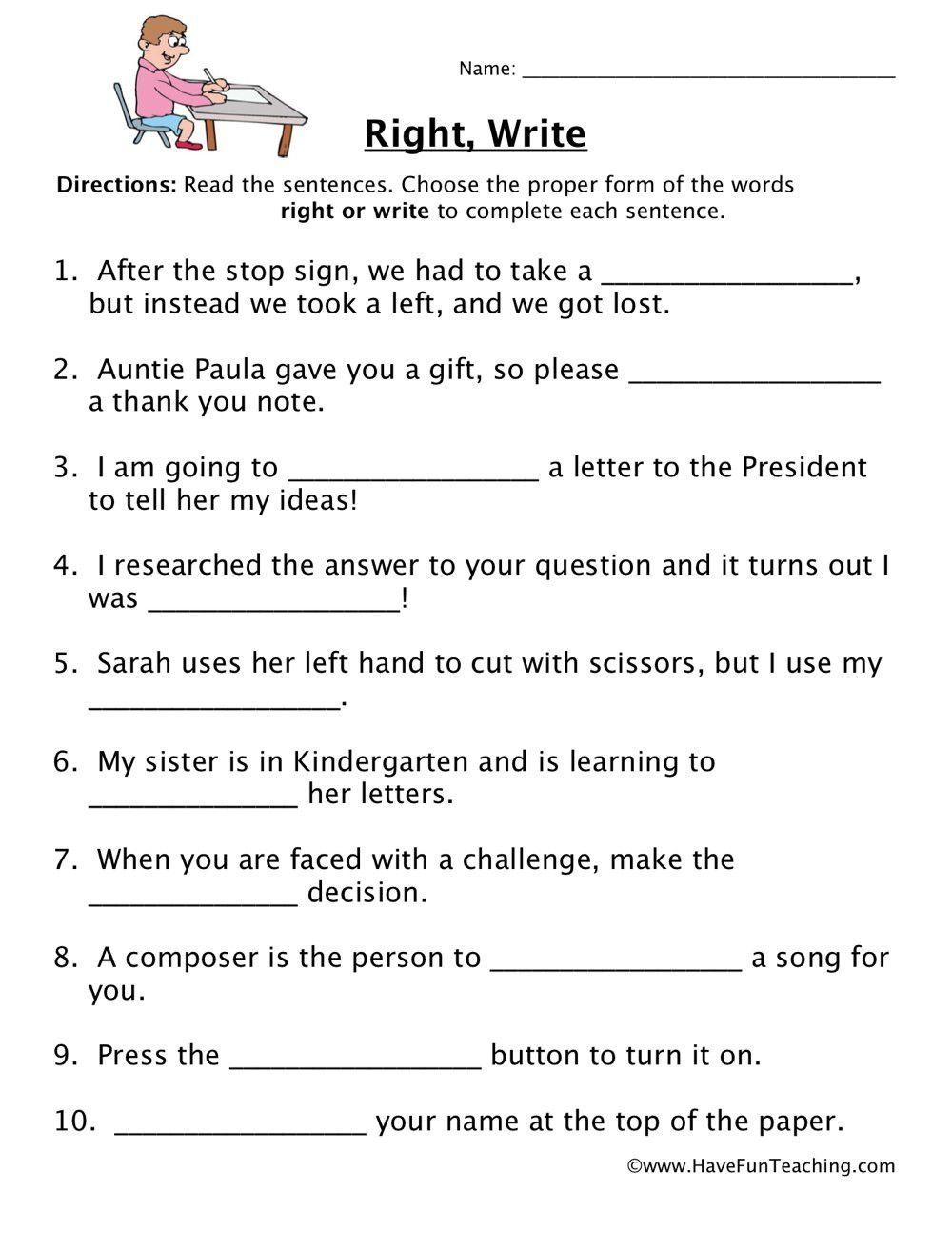 Homophones Worksheets 4th Grade In 2020 Homophones Worksheets Writing Sentences Worksheets Comprehension Worksheets