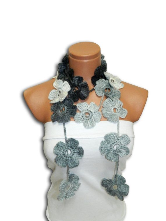 Hand made crochet Gray Black White Flower by WomanStyleStore, $25.00