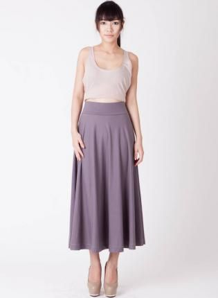 High Waisted Taupe Maxi Skirt,  Skirt, thick waistband maxi skirt, Bohemian (Boho) / Hippie