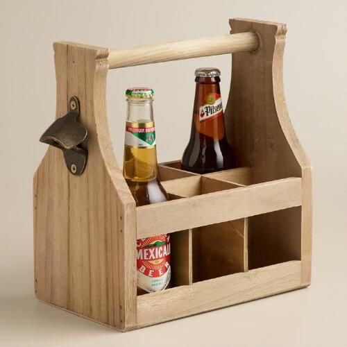 Wooden Bottle Caddy with Opener World Market Diy