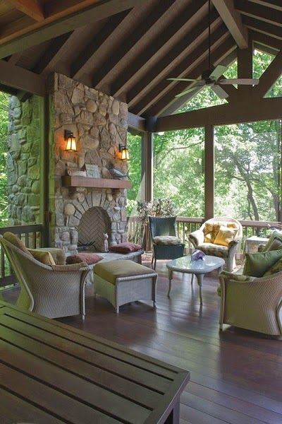 Screened In Porch With Fireplace And Kitchen