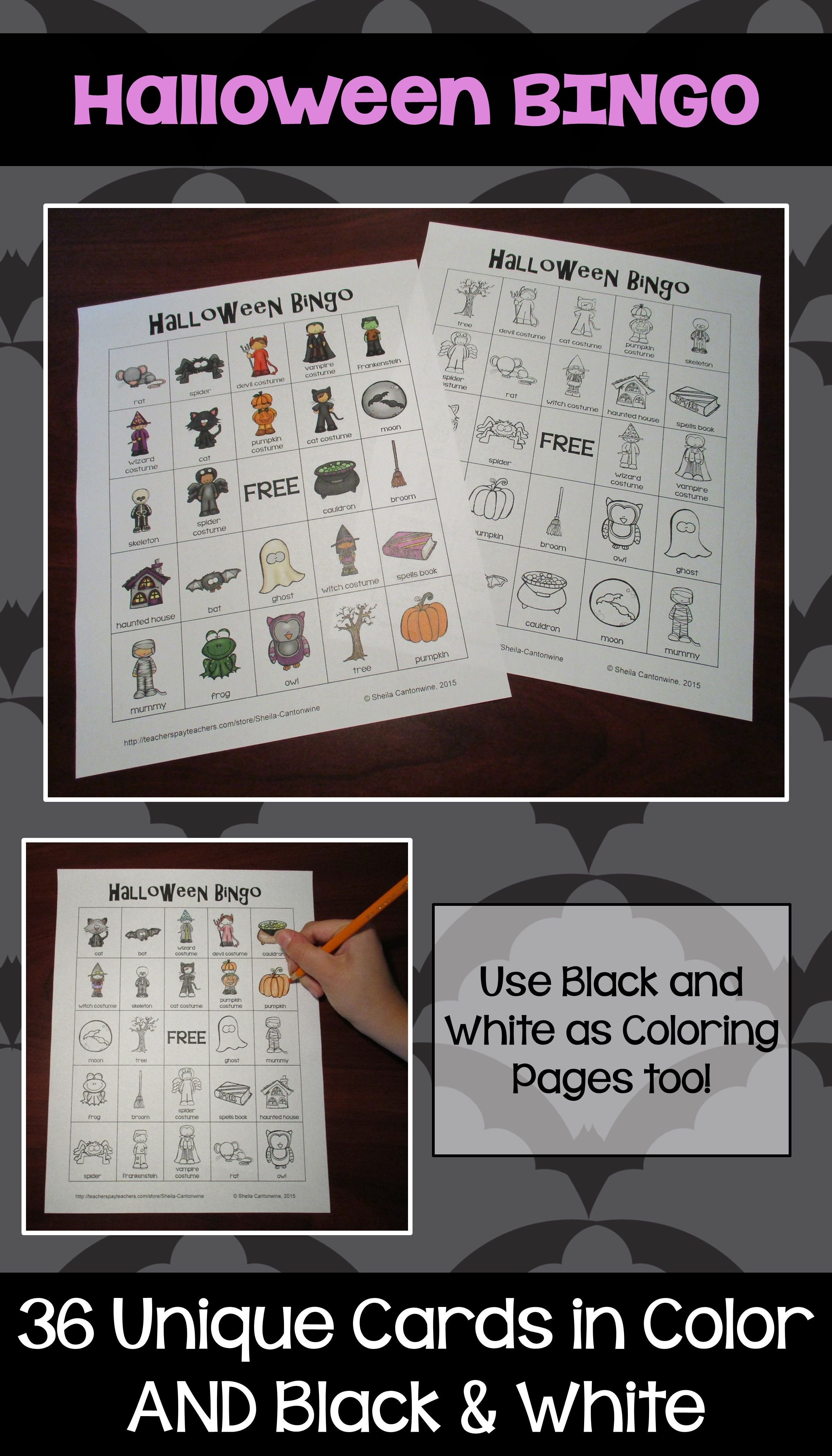halloween bingo 36 unique game cards in color and black and