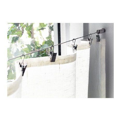 Wire Cable Curtain Rod System With Clips For Dave S Cave Curtain Rods Curtains Curtain Wire