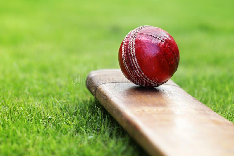 Cricket Bat And Ball Cricket Ball Resting On A Cricket Bat On Green Grass Of Cr Affiliate Ball Resting Cr Cricket Balls Cricket In India Live Cricket