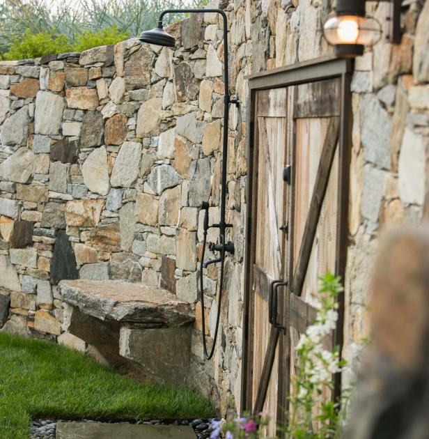 Outdoor Shower and Stone WallPhoto By: Neil A LandinoAfter a dip in the Long Island Sound, rinse off here in an outdoor shower as pretty as its setting.