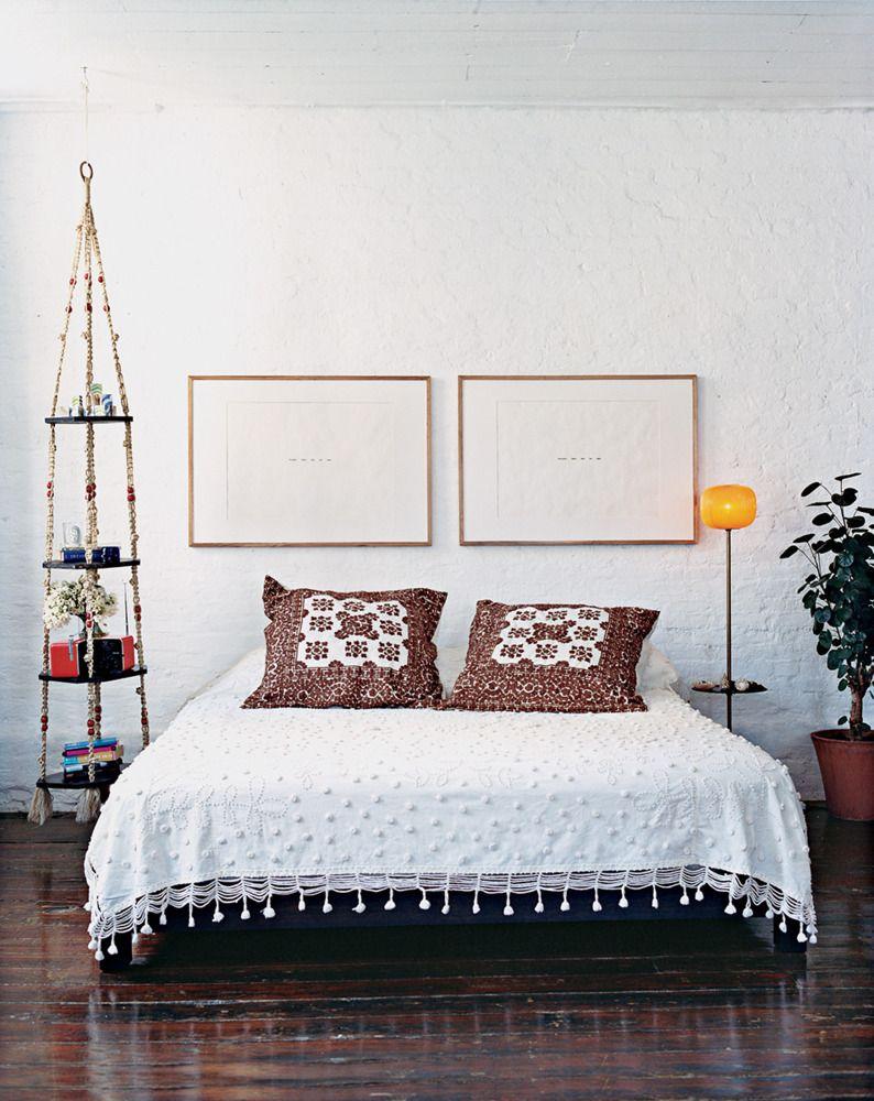 Macrame shelf + lovely bed cover
