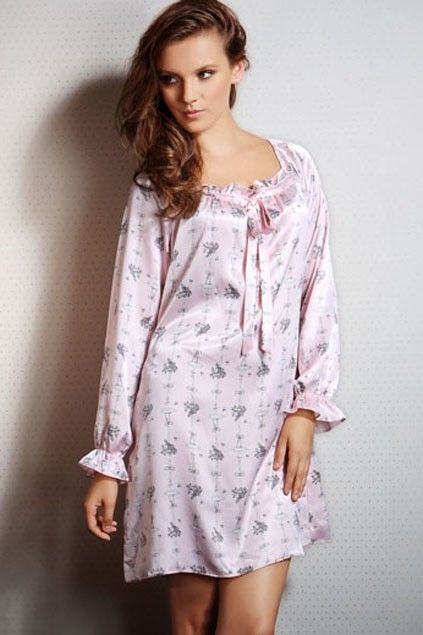 This night dress crafted in polyester and spandex, featuring long bubble sleeves, bowknot detail, round neckline and straight loose styling.$49