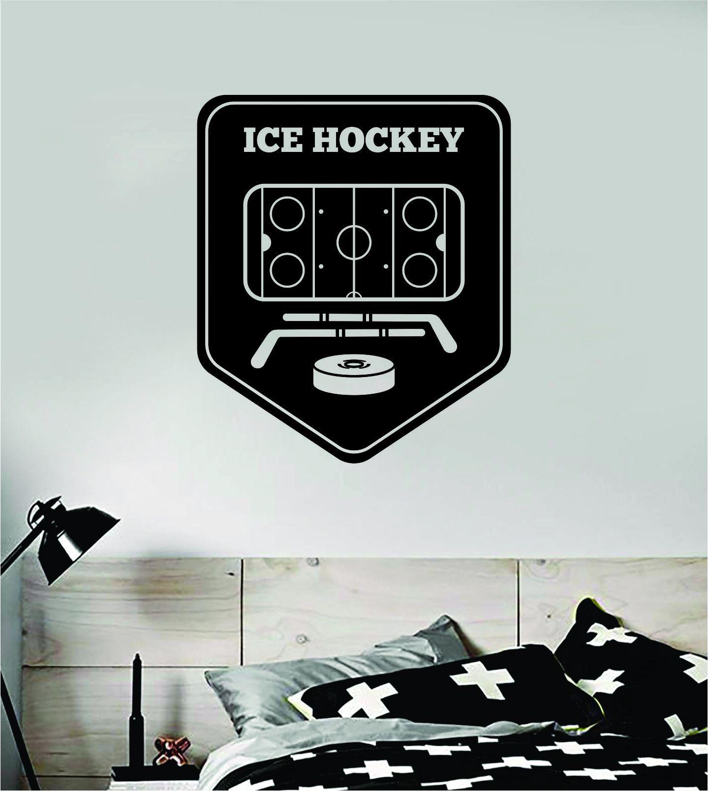 Ice Hockey Wall Decal Sticker Vinyl Art Bedroom Room Home Decor Quote Kids Teen Baby Boy Girl Nursery Skate Puck Stick NHL Winter - purple