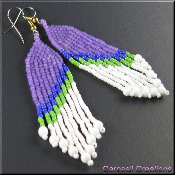 Southwestern Beaded Dangle Earrings TAGS - Jewelry, Earrings,Chandelier, native american, brick stitch, carosell creations, glass, seed beads, beaded, dangle, blue, purple, green, pierced, accessories, white, indian, fringe, holiday gift idea, southwestern, mod, long, slant, opaque, handmade, etsy, craft