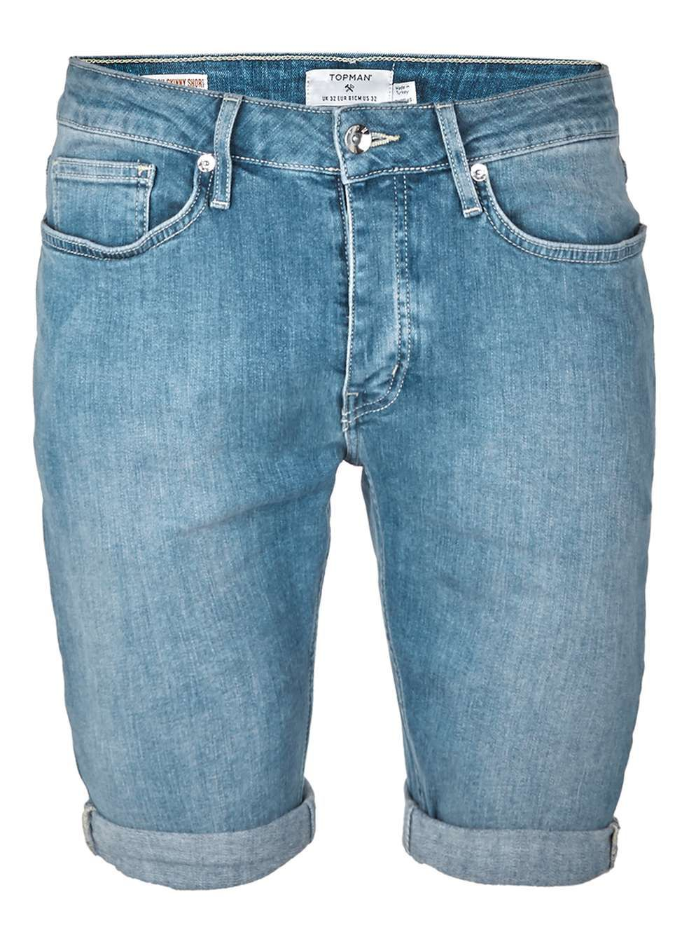 4145c57ca0 Light Blue Stretch Skinny Denim Shorts | Shorts | Denim shorts, Mens ...