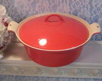 Vintage Griswold Red Enamel Cast Iron Dutch Oven Casserole