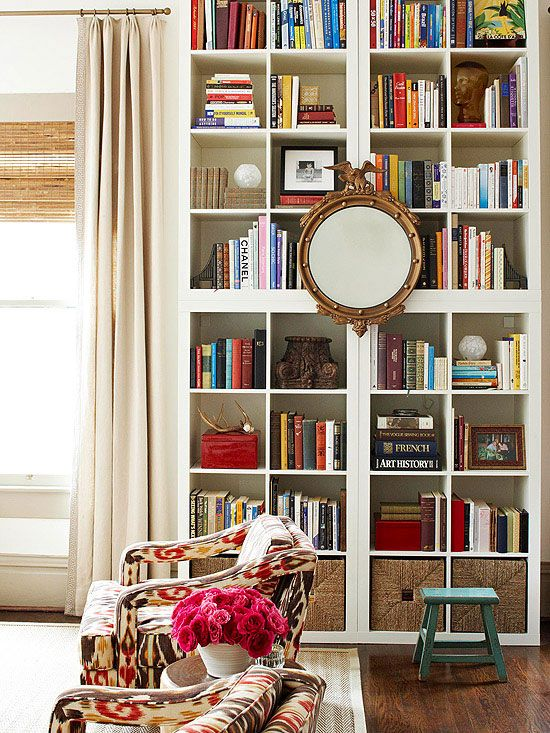 Love This Floor To Ceiling Styled Bookcase With Centered Mirror As Focal Point
