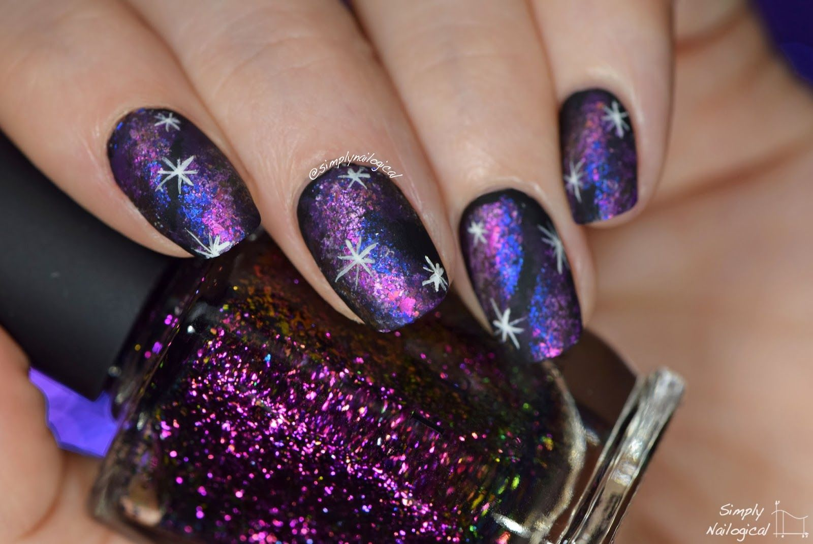 Dark galaxy nails using ultra-chrome flakies by simplynailogical ...