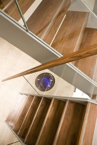 Best Metal Stringers With Walnut Treads And Structural Glass 640 x 480