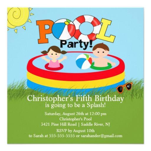 Summer POOL Party Birthday Invitation Boy Girl Summer pool, Boy - birthday invitation pool party