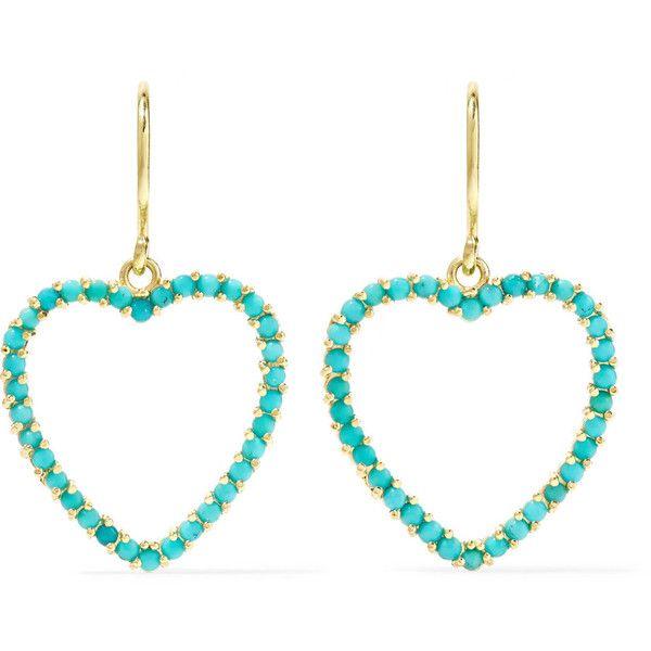 Jennifer Meyer Heart 18-karat Gold Turquoise Earrings FaaNYXT