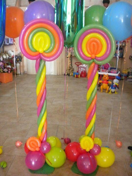 Lollipop balloon columns candy land crush themed