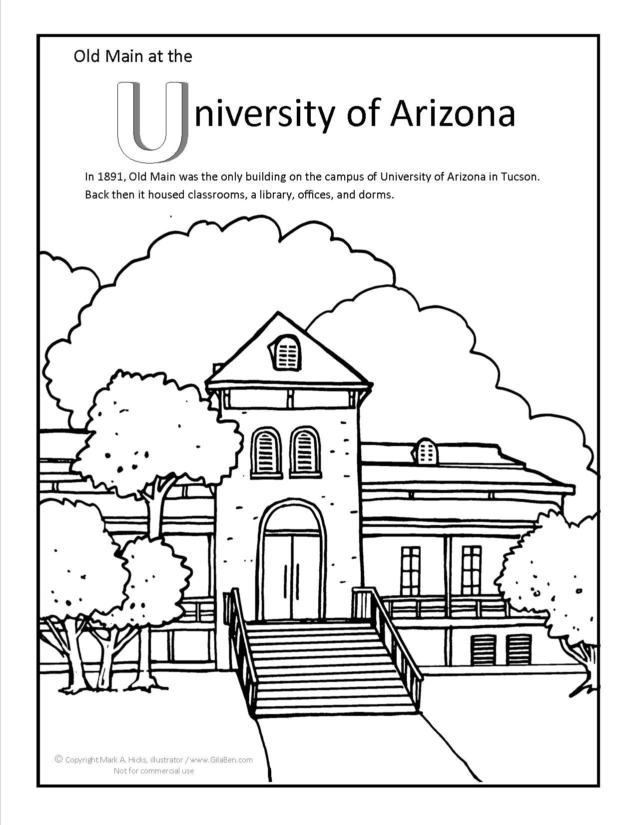 University of Arizona Old Main Coloring page at GilaBen.com ...