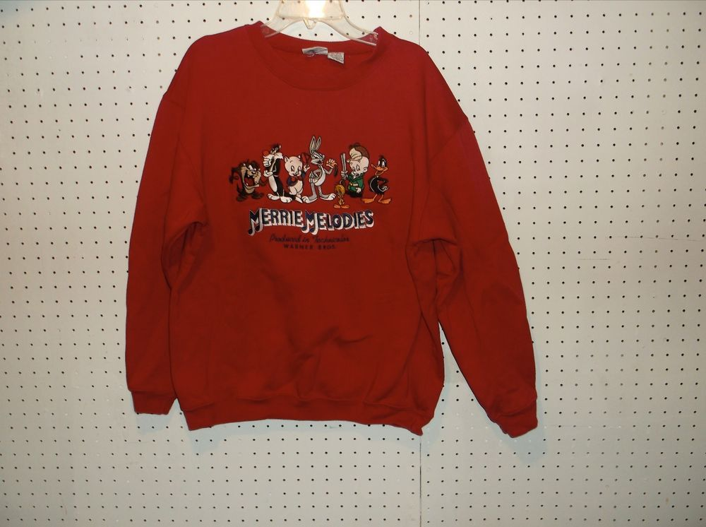 LOONEY TUNES Classic Warner Bros MERRIE MELODIES Sweat Shirt Size XS