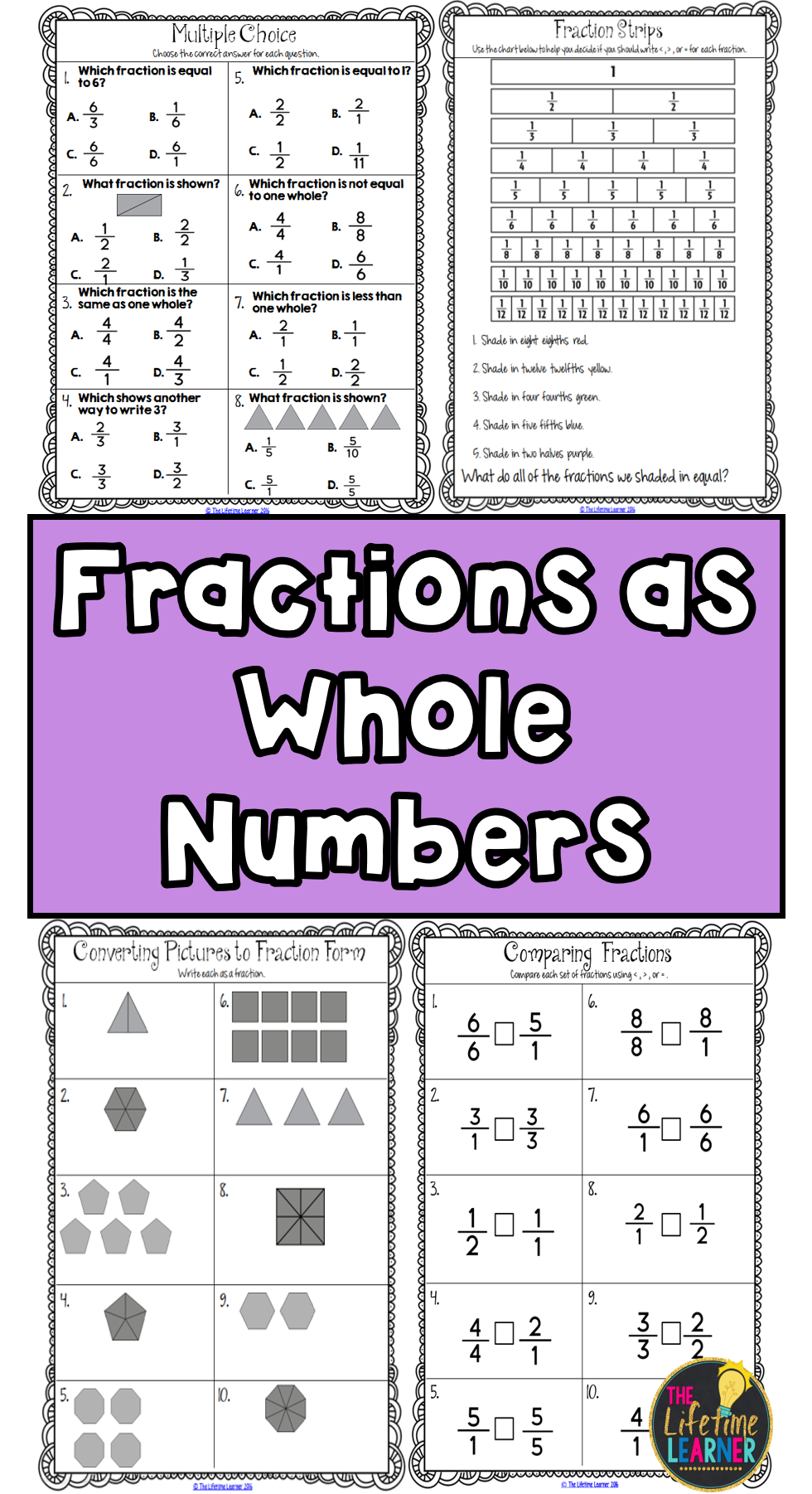 Whole Numbers As Fractions Third Grade Education Math