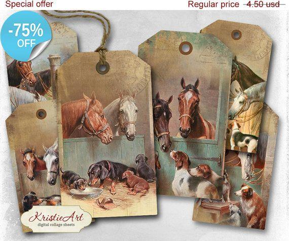 75% OFF SALE Horses Tags - Digital Collage Sheet Digital Tags T006 Printable Download Image Tags Digital Image Animal tags Horse image atc