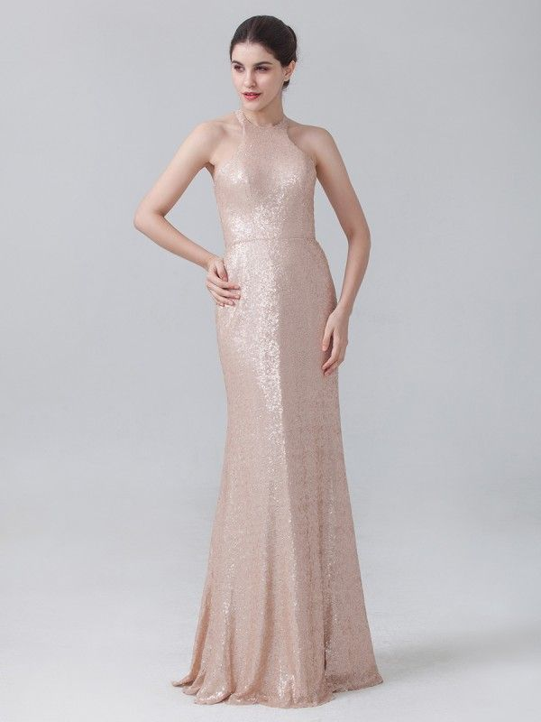 For Her and For Him sequin bridesmaid dress