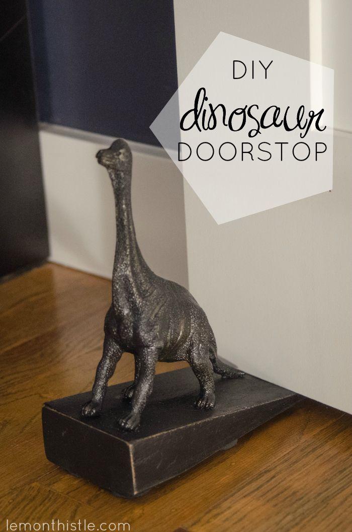 How cute is this! DIY Dinosaur Doorstop (an Anthro knock-off)