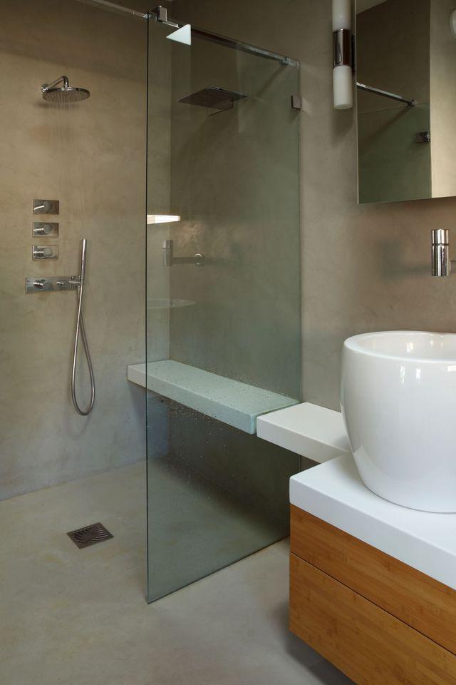 Rénovation salle de bain douche sans joint et sans carrelage | Salle ...