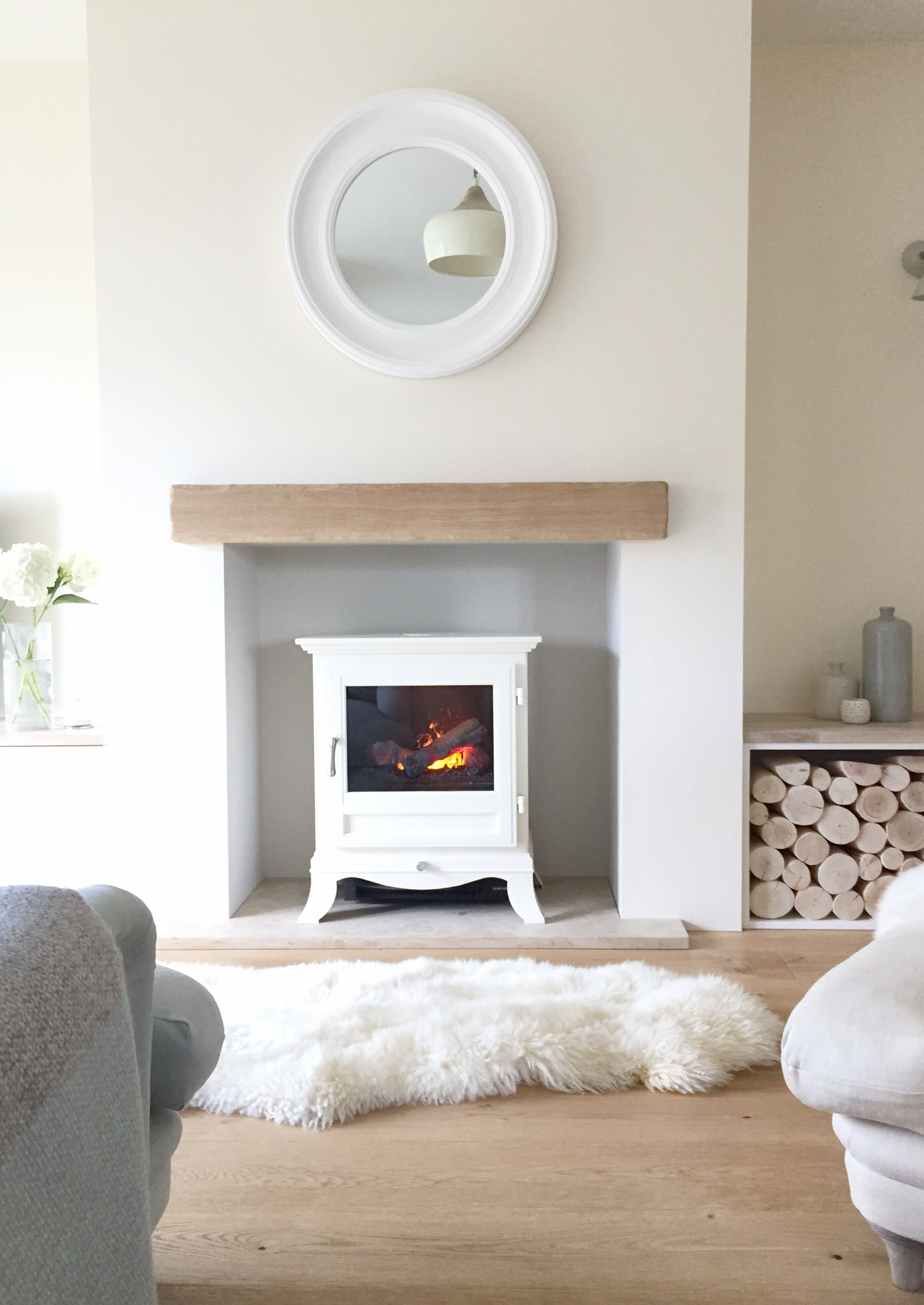 Cosy Living Room With Log Burner Modern Pop Ceiling Designs For Fireplace Sheepskin Rugs Home And Interior