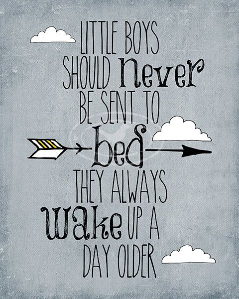 Little Boy Quotes Simple Nursery Art Print Little Boys Should Never Be Sent To Bed Peter
