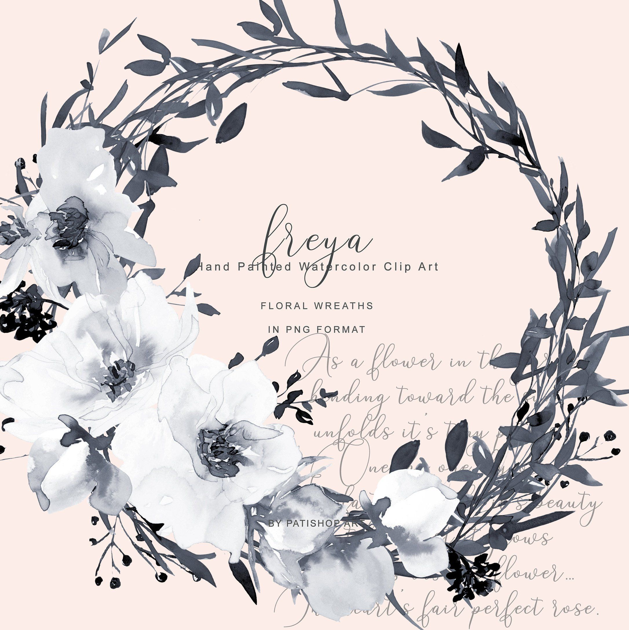 Hand Painted Watercolor Gray And White Rose Wreath Clipart