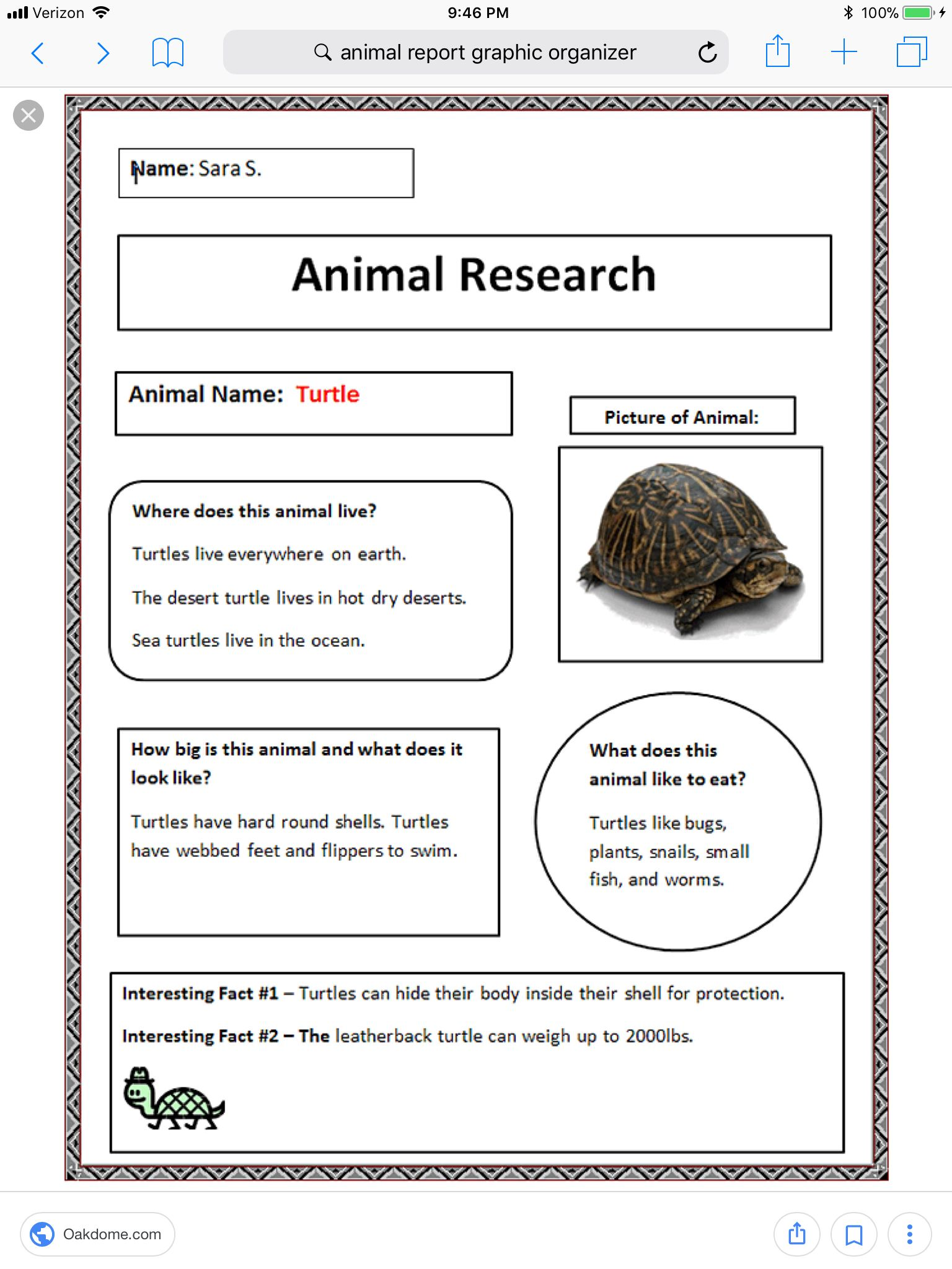 Animal Research Sheet