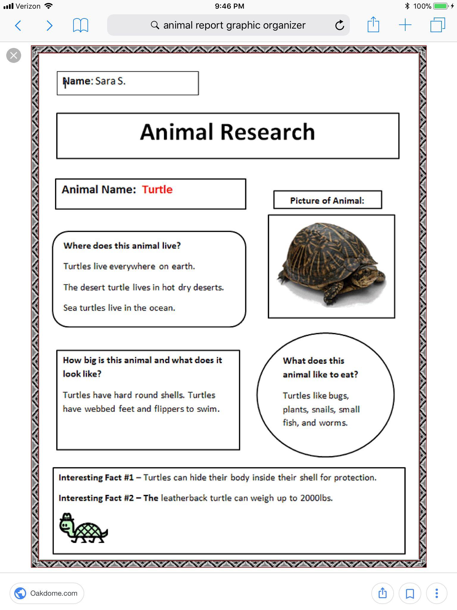 Animal Research Sheet
