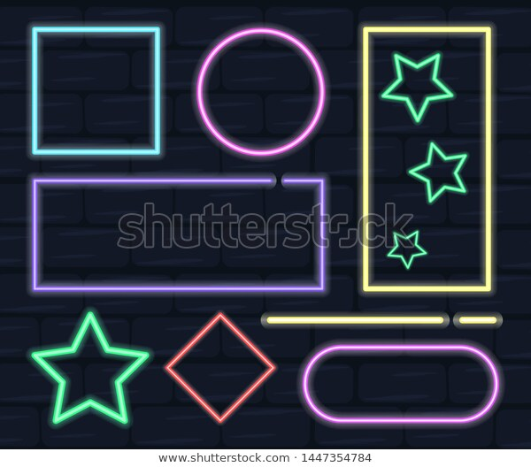 Collection Neon Frame Different Shapes Electric Stock Vector Royalty Free 1447354784 Frame Neon Different Shapes