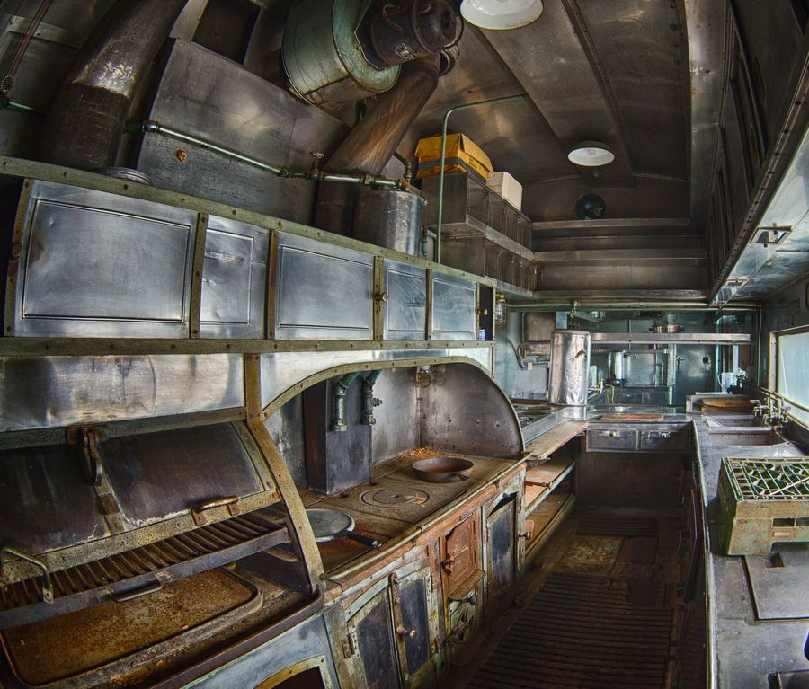 Pullman Kitchen: Railroad Dining Car Galley. Click Image For Details