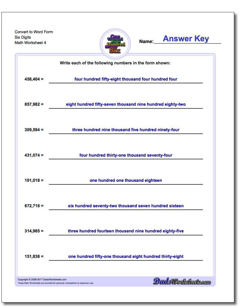 Convert To Word Form Worksheet Six Digits Standard Expanded And Word Form Worksheet Word Form Math Words Worksheets [ 1025 x 810 Pixel ]