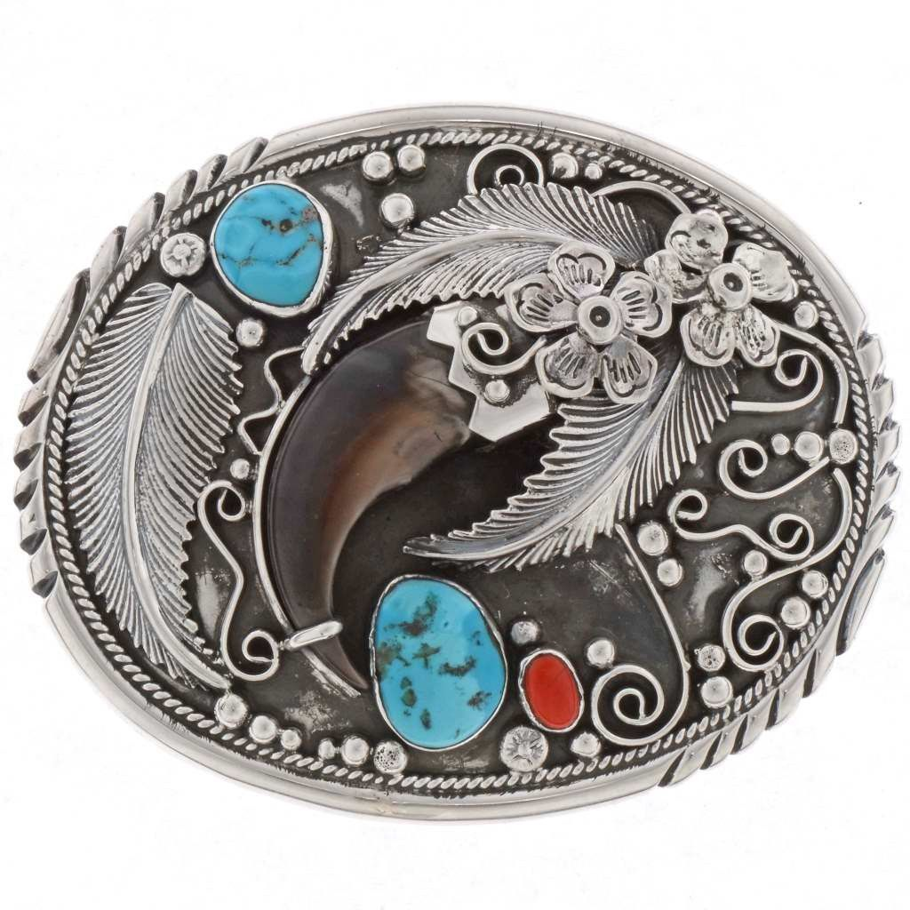 Bear Claw Turquoise Belt Buckle American Indian Silver Design Bear