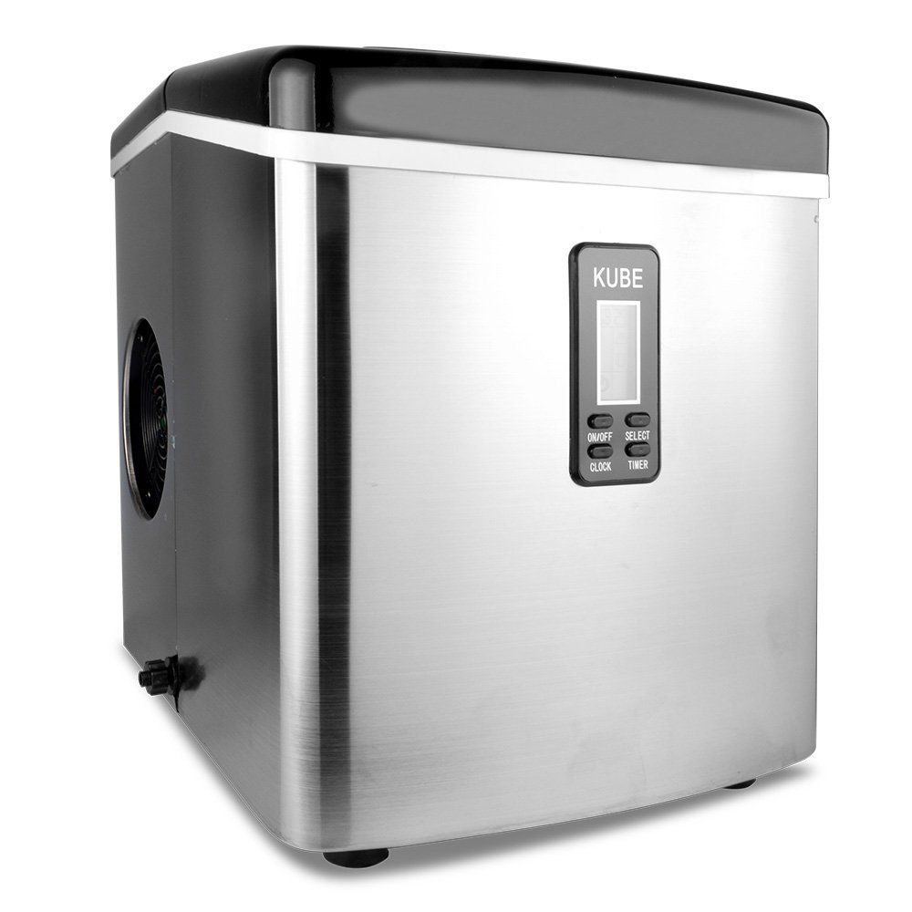 Hengtong Portable Ice Maker Under Counter Machine Stainless Steel Shell Bullet Shaped Ice Cube 33lbs Portable Ice Maker Stainless Steel Countertops Ice Maker