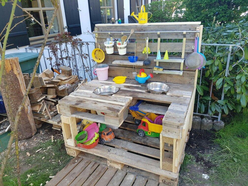 Matsch Kuche Gartenprojekte Mit Holzpaletten Matschekuche Kuche Aus Paletten