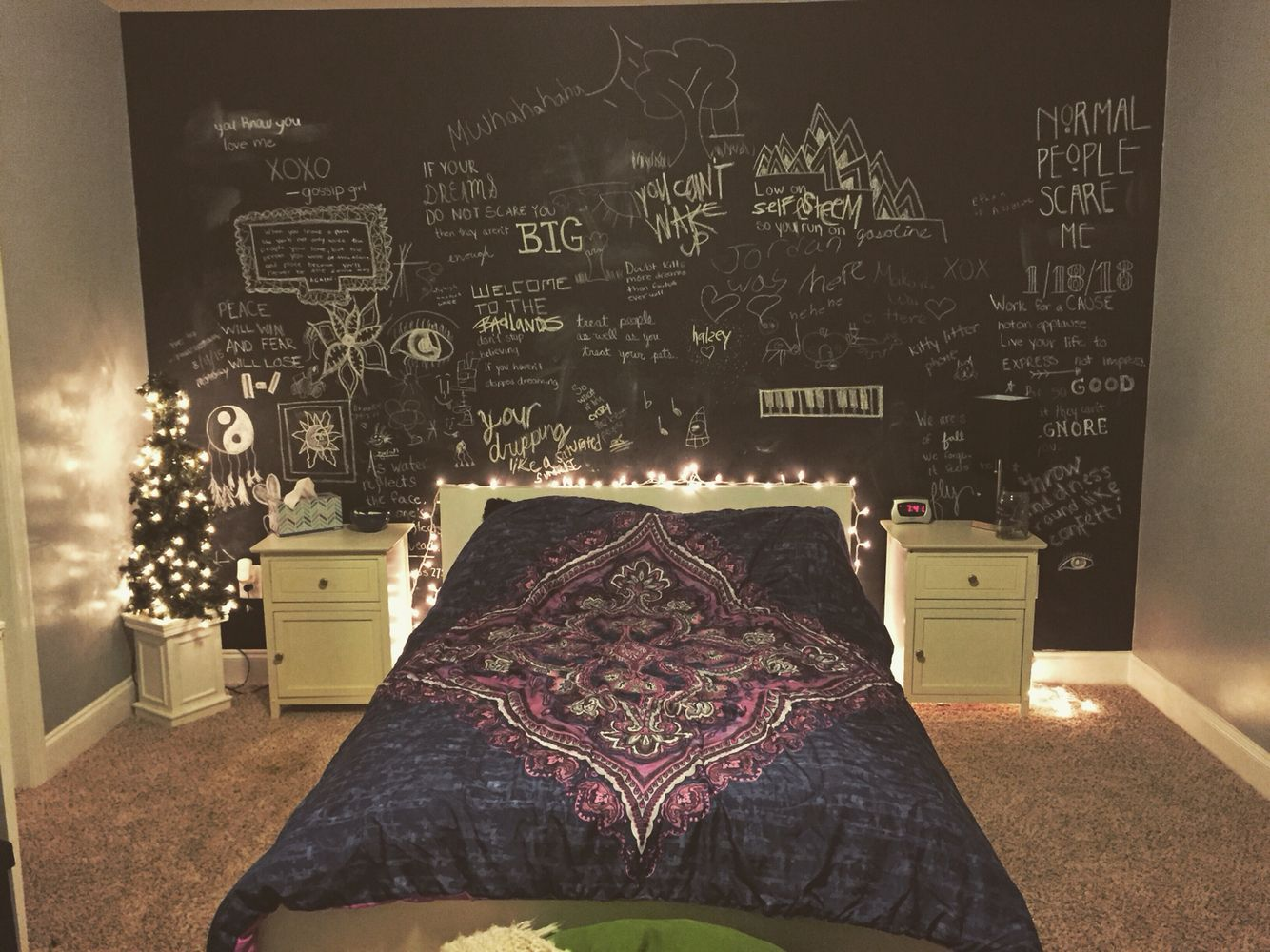 Bedroom ideas for girls tumblr - Bedroom Tumblr Chalkboard Wall Purple Blue White Ikea Fairy Lights Black Grey Teen Girl Chalkboard Pinterest Girls My Music And Chalk Board