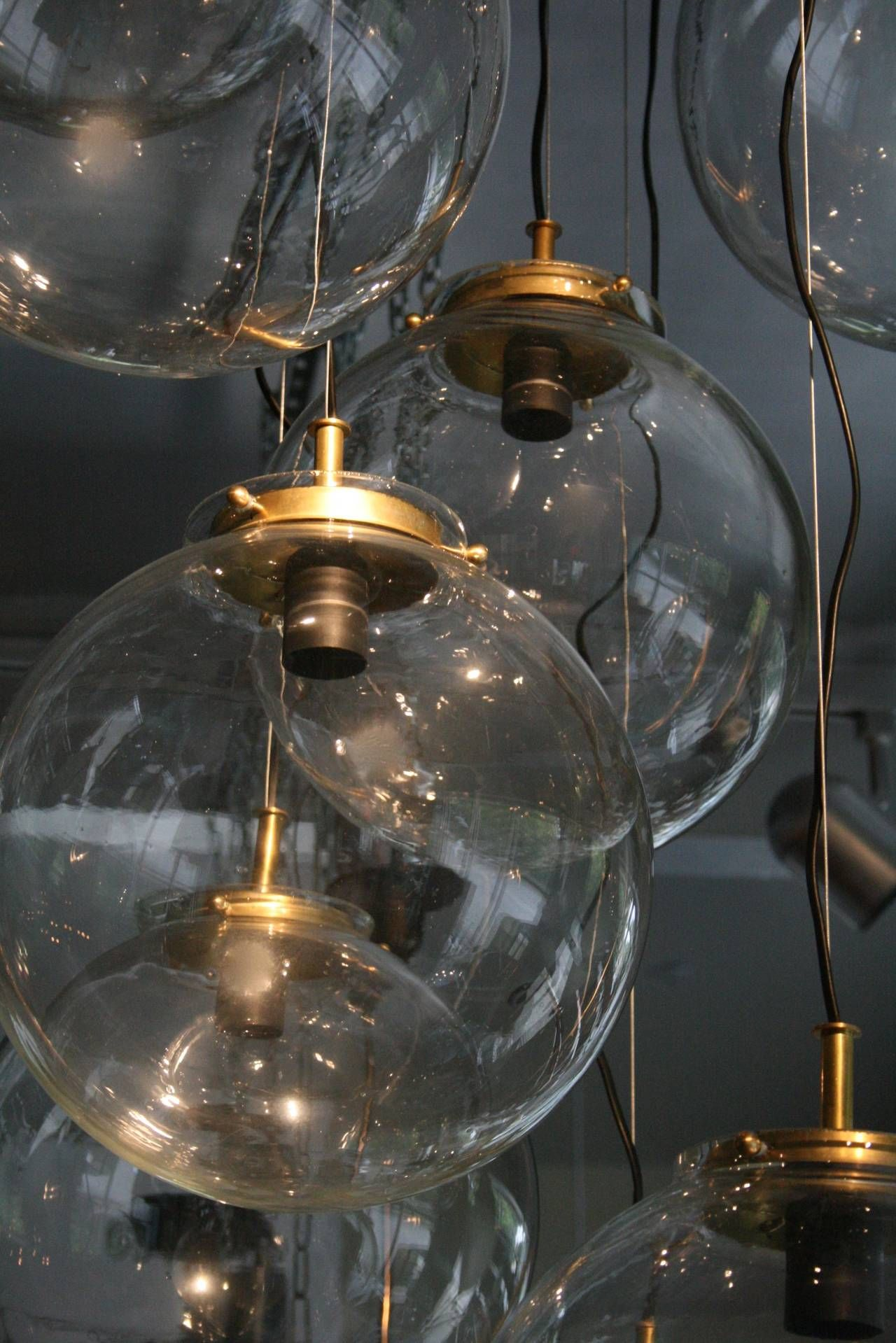 French Brass Cascading Chandelier with Glass Globes