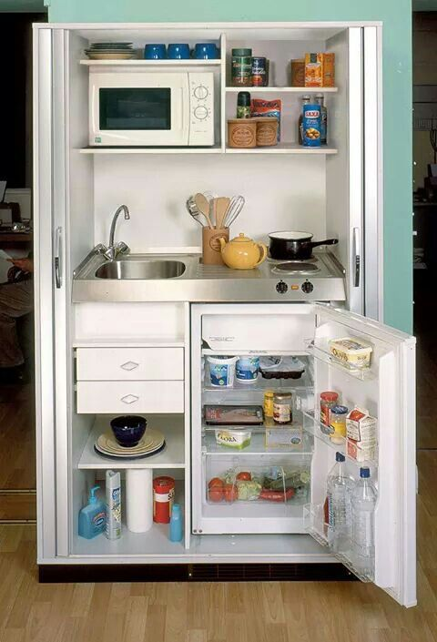 Micro Kitchen Design At Its Best Also Love That You Could Close It Off Great Idea For A Cabin Or Guest House
