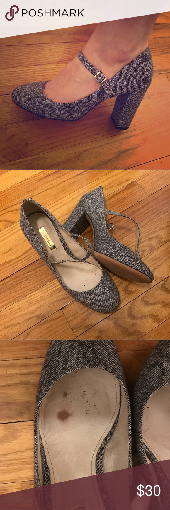 9dba3c4f091 Louise et Cie Jayde Mary Janes Gorgeous grey tweed Mary Janes with block  heel. Worn twice. Perfect condition on the outside but a small stain on the  inside ...