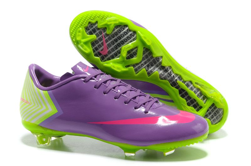 Nike Mercurial Vapor X FG Cleats Medium Purple Hot Pink Fluorescent Green 939c9dd18e