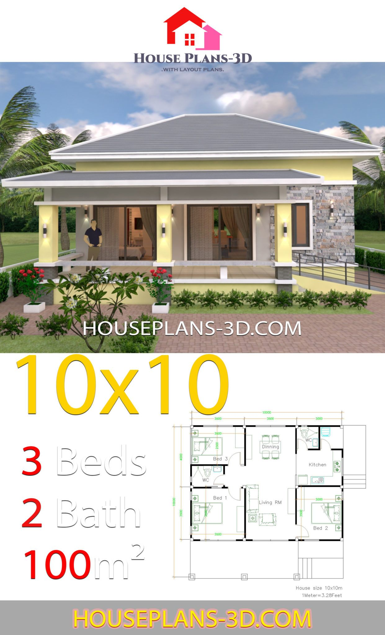 10x10 Bedroom Plans: House Design 10x10 With 3 Bedrooms Hip Roof In 2020