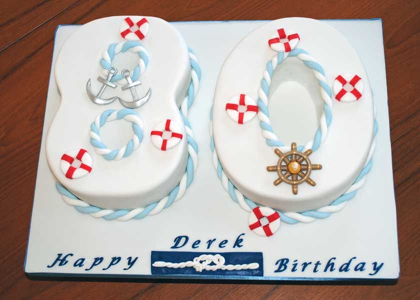 80th Birthday Number Cake With A Nautical Theme My Number Cakes