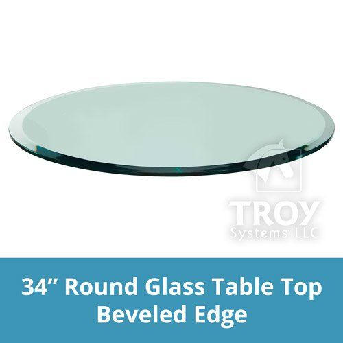 TroySys Annealed Glass Table Top 12 Thick Beveled Edge Round 34 L ** Read  More